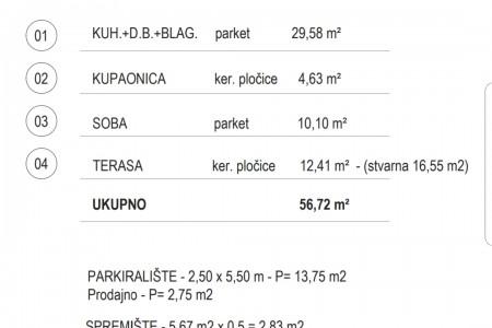 NOVOGRADNJA - ZADAR ( PUT NINA ) - LIFT - JEDNOSOBAN 94,03m2 ( PRODAJNA POVRŠINA 65,05m2 )